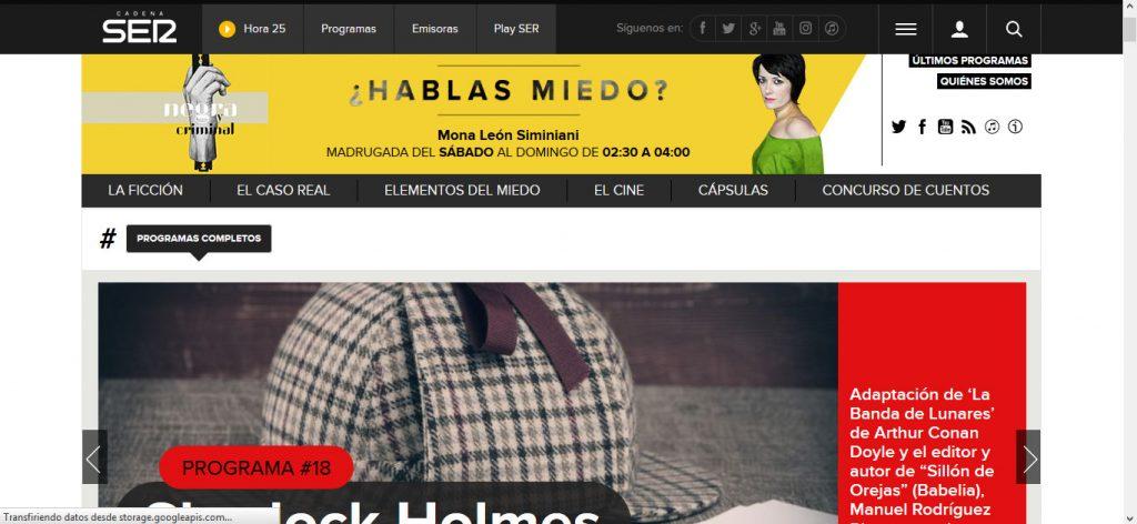 imagen de Negra y Criminal en la web de la Cadena SER