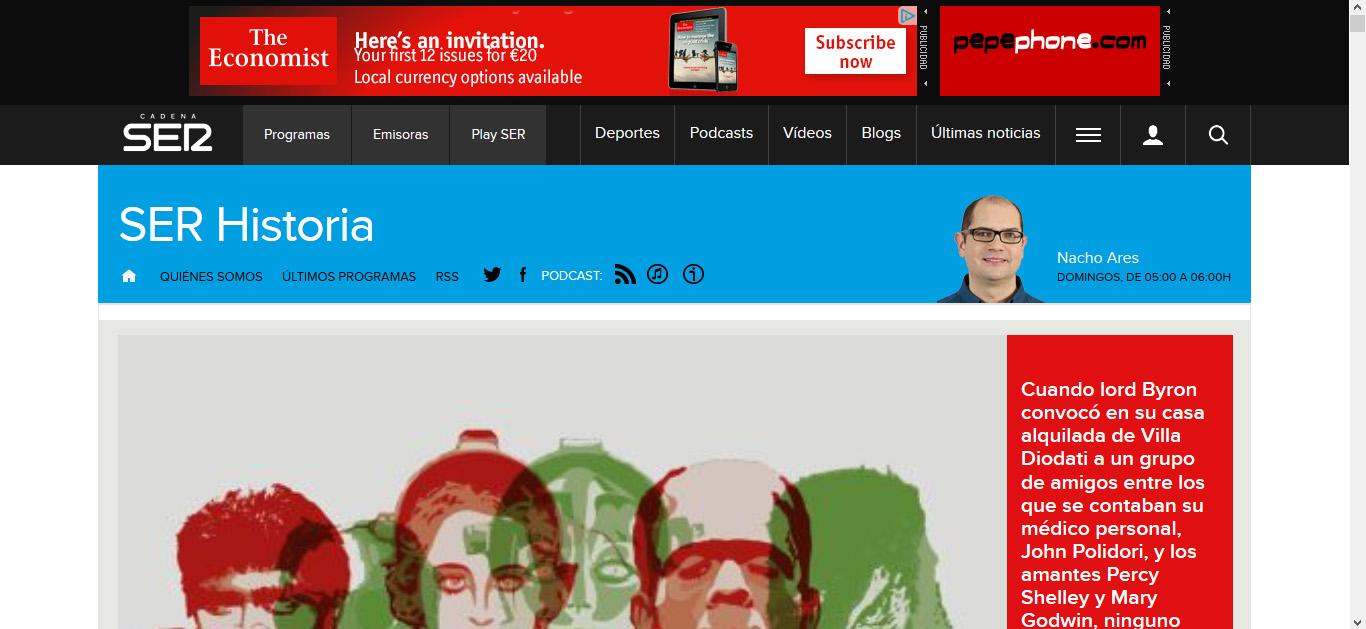 imagen de La página de SER Historia en la web de la Cadena SER