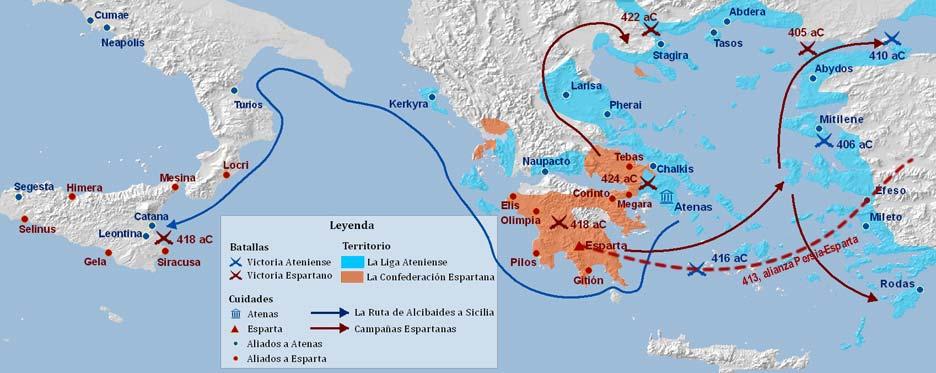 imagen de mapa de la Evolución de la Guerra del Peloponeso (mihistoriauniversal)