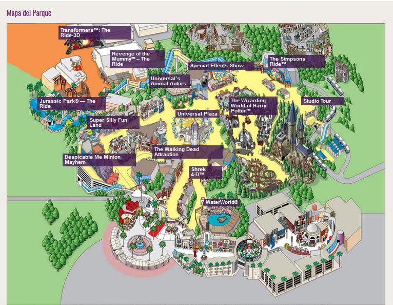 imagen del mapa de Universal Studios