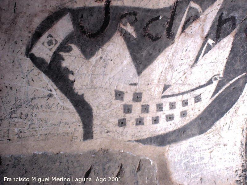 Imagen de grabados en el interior de la Torre del Homenaje