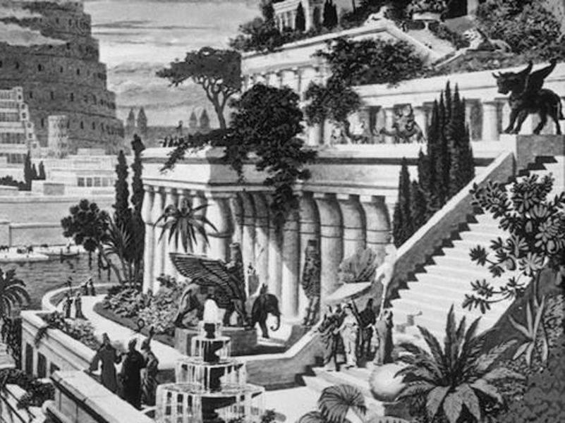 imagen de los Jardines de Babilonia imaginados por Heemskerck