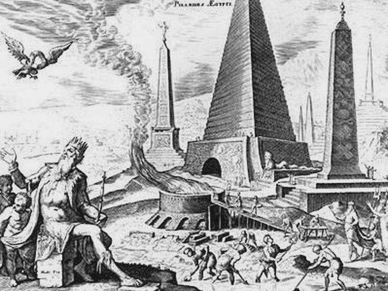 imagen de la Gran Pirámide de Giza, imaginada por Martin Van Heemskerck