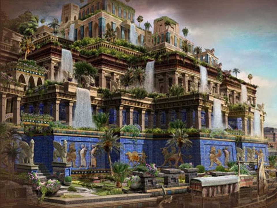 imagen de recreación de los jardines colgantes de Babilonia