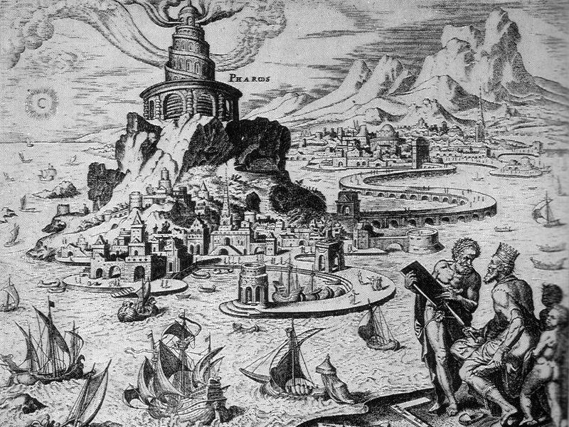 imagen del Faro de Alejandría de Heemskerck