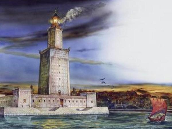 imagen de reconstrucción del Faro de Alejandría