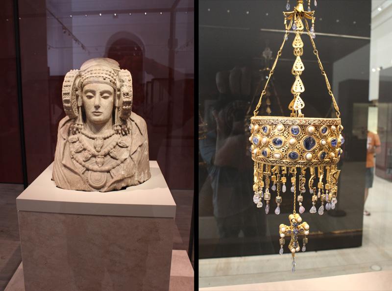 imagen de la Dama de Elche y el Tesoro de Guarrazar, Museo Arqueológico Nacional, Madrid, España