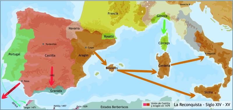 imagen de mapa de la Península Ibérica en los siglos XIV y XV