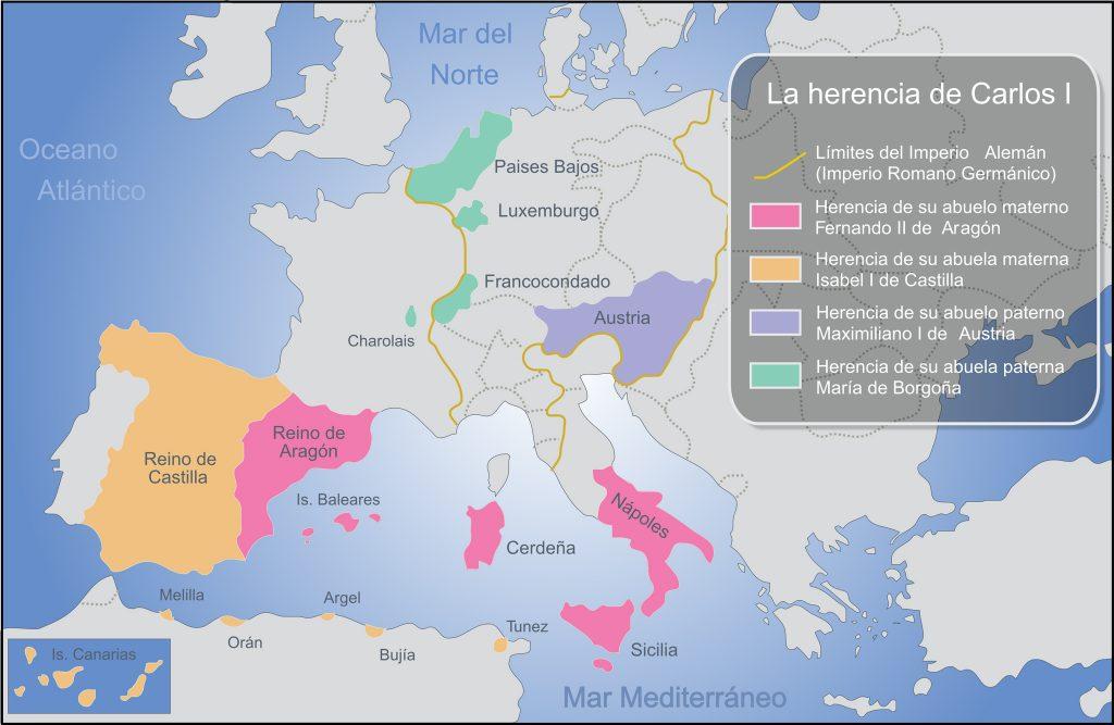 imagen de mapa de reinos heredados por Carlos I