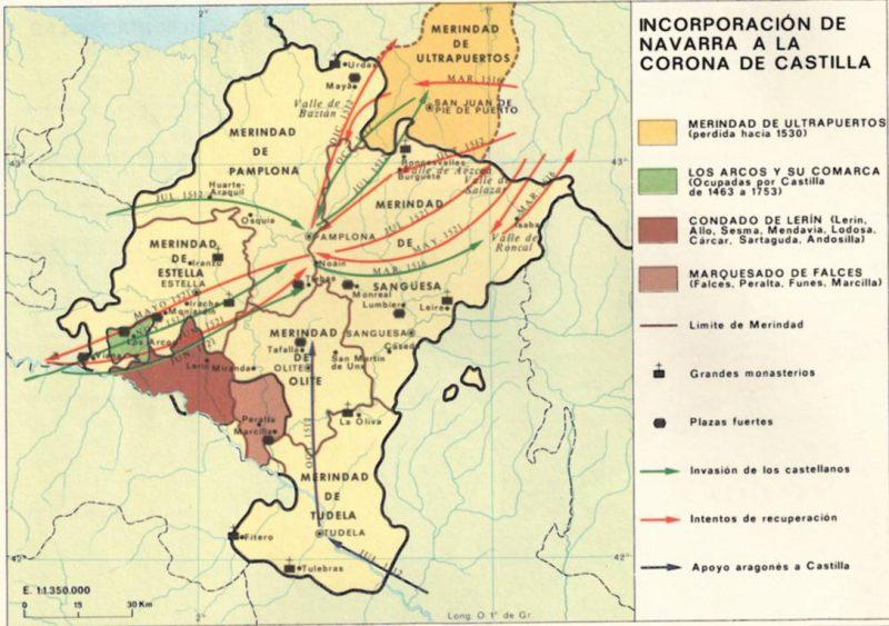 imagen de mapa de la incorporación de Navarra a la Corona de Castilla