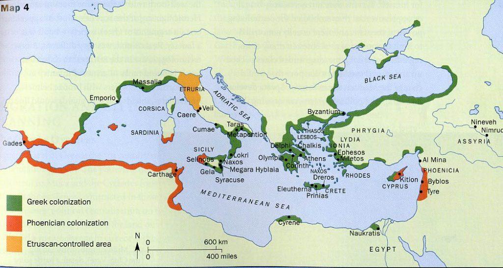 imagen mapa de la Segunda Colonización Griega