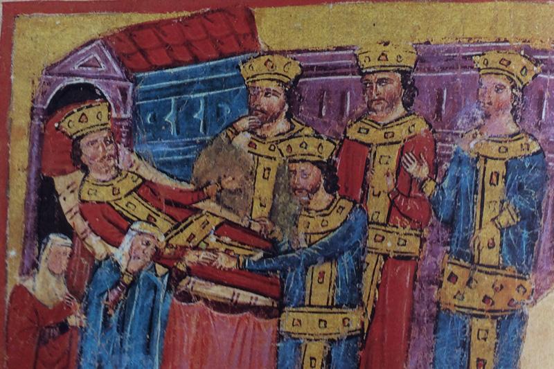 imagen de Alejandro Magno entregando su anillo a Pérdicas.