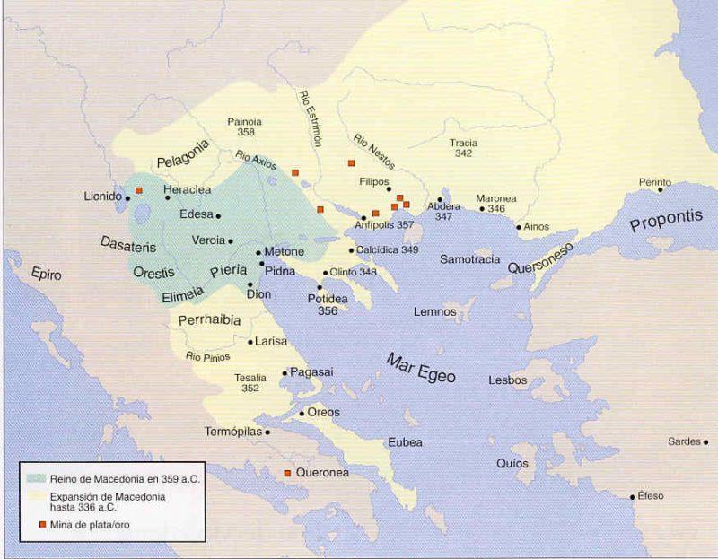 mapa de Conquistas macedonias durante el reinado de Filipo II
