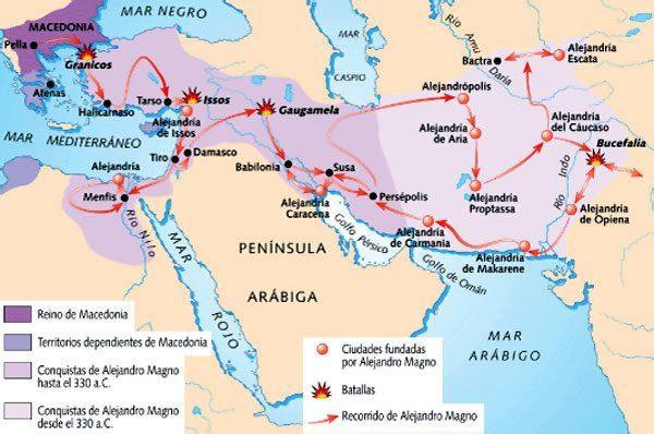 mapa de Las conquistas de Alejandro Magno