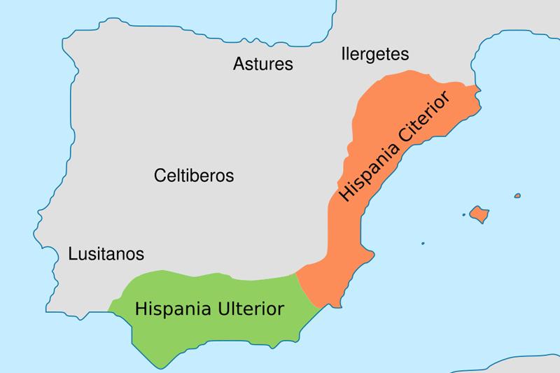 mapa de Conquista de Hispania - provincias Ulterior y Citerior