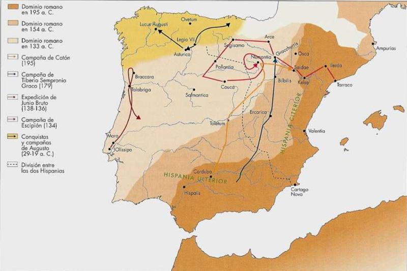 mapa de Conquista de Hispania - Guerras Celtibéricas