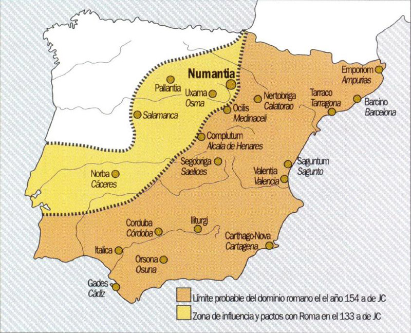 mapa de la Guerra de Numancia