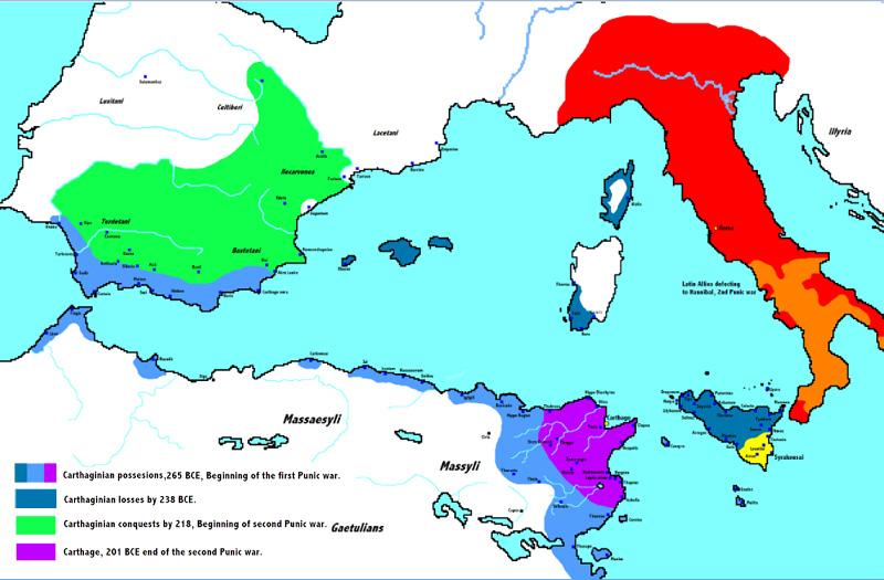 Guerras Púnicas - mapa de la Evolución de los territorios de Cartago
