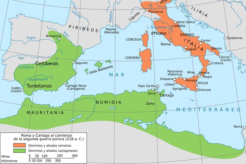 Guerras Púnicas - mapa de los dominios cartagineses y romanos al inicio de la Segunda Guerra Púnica.