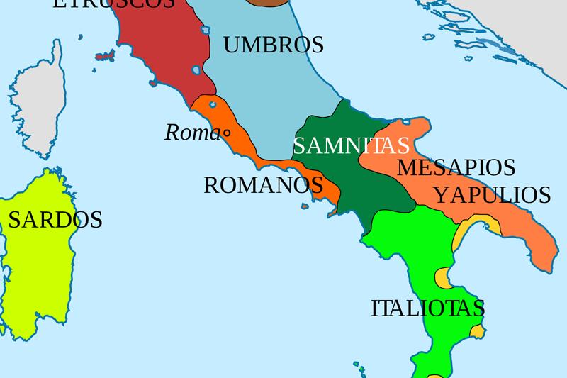Conquista de Italia - imagen de Guerras Samnitas - mapa de la Península Italiana en el año 400 AC