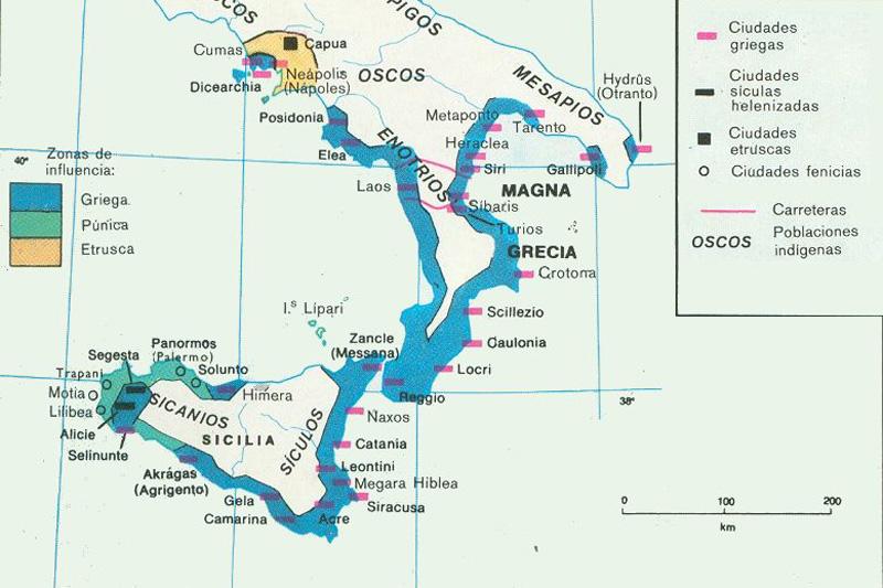 mapa de las Guerras Púnicas: Magna Grecia y Sicilia