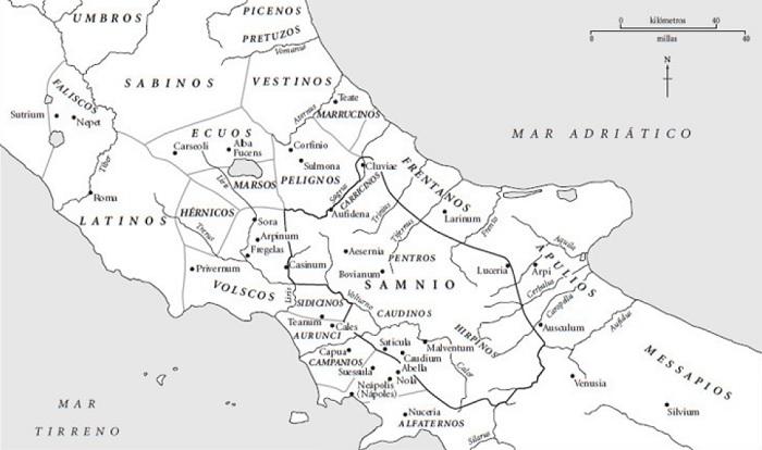 Conquista de Italia - Mapa de Italia Central en el 350 AC