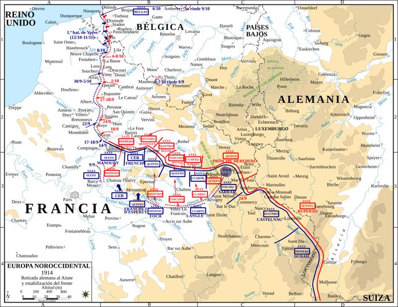 mapa de Primera Guerra Mundial - Frente occidental