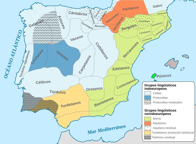 mapa de la Conquista de Hispania. Pueblos ibéricos.