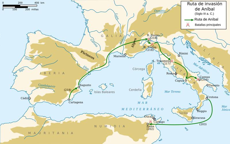 mapa de las Guerras Púnicas: la ruta seguida por Aníbal hasta Italia
