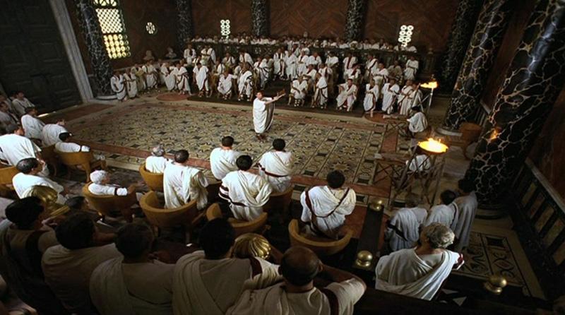 imagen de república romana - Tribuno de la Plebe dirigiéndose al Senado.