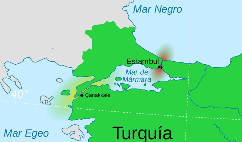 mapa de Primera Guerra Mundial - Batalla de Galipoli
