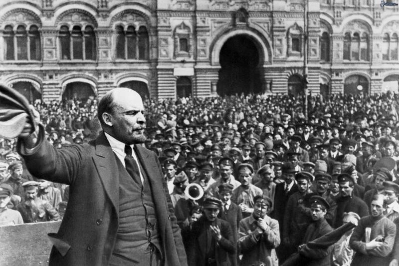 imagen de Lenin en la revolución rusa