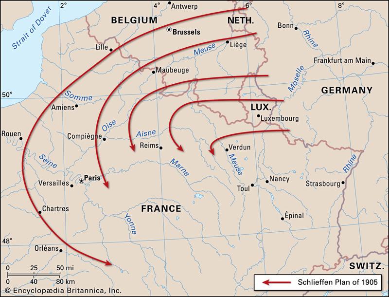 mapa de Primera Guerra Mundial - el Plan Schlieffen.