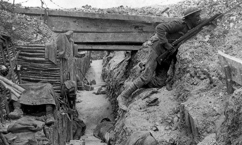 imagen de una trinchera durante la Primera Guerra Mundial