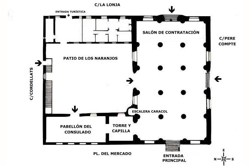 Plano de la Lonja de la Seda de Valencia