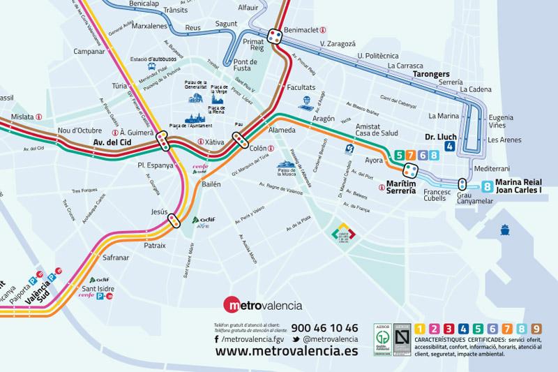 Qué ver en Valencia: plano del Metro