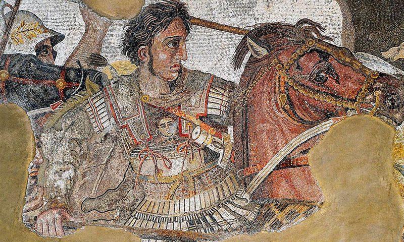 imagen de Alejandro Magno en la Batalla de Issos. Mosaico