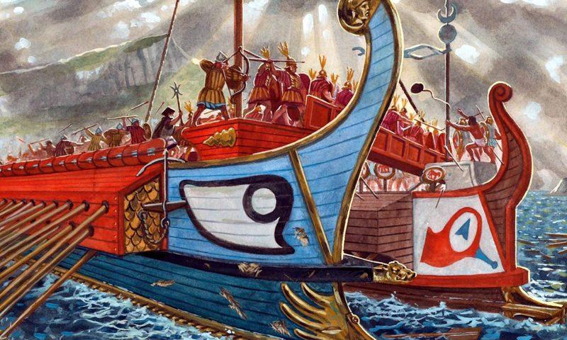 imagen de Guerras Púnicas: lucha entre barcos cartagineses y romanos