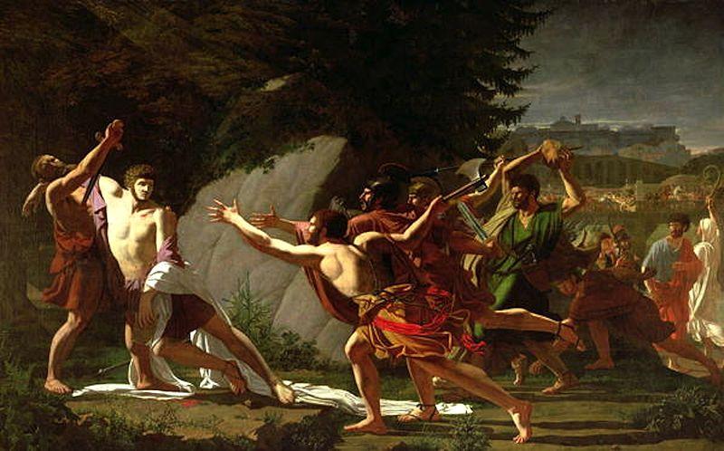 """""""La muerte de Cayo Graco"""", pintura de François Topino-Lebrun, 1798"""